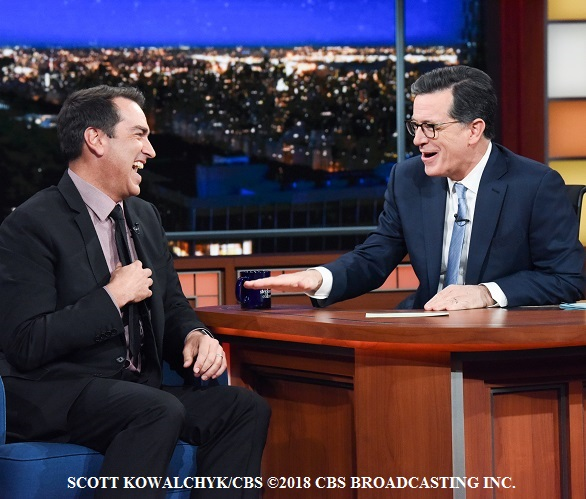 Stephen Colbert and guest Rob Riggle