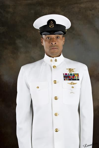 David Goggins stands at attention