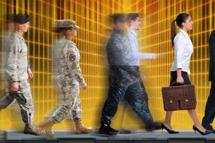 military people in uniform walking then transitioning to civilian professional attire. Side view.