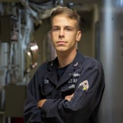 Petty Officer Kevin Taylor aboard Navy warship