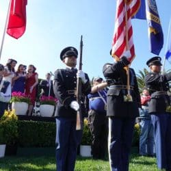 Mebers of the color guard at a military funeral service