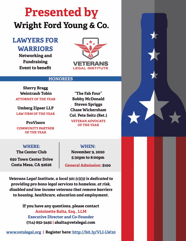 2020 Lawyers for Warriors Flier for November 9 event