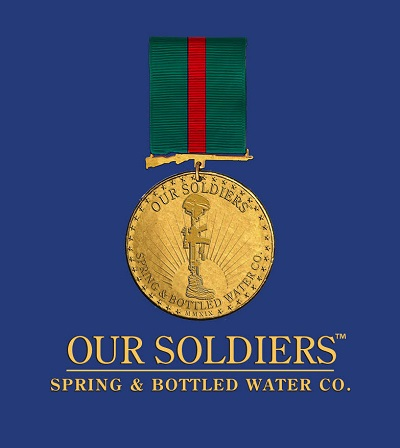 medal hanging in picture with the words Our Soldiers spring and bottled water company