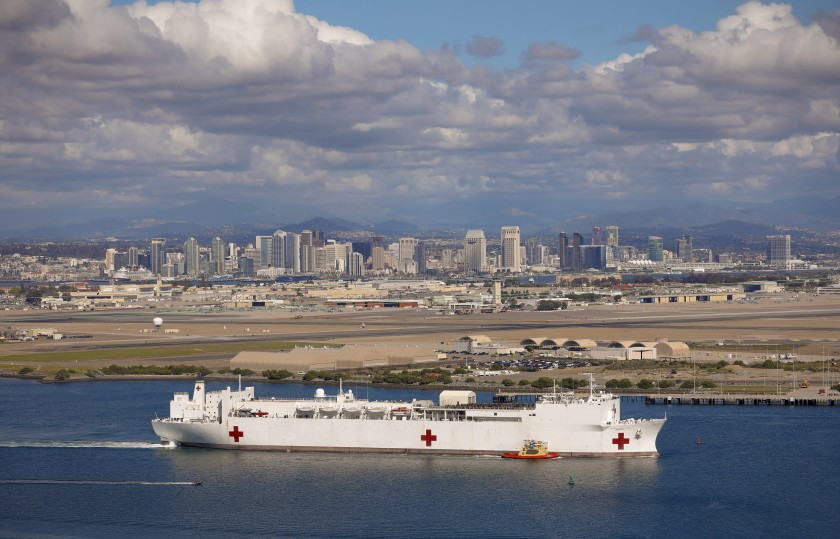 Navy Hospital Ship Departing the Dock to Help Fight the Coronavirus Pandemic