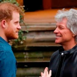 Britain's Prince Harry, Duke of Sussex (L) chats with US singer Jon Bon Jovi as he arrives at Abbey Road Studios in London on February 28, 2020, where they met with members of the Invictus Games Choir, who were there to record a special single in aid of the Invictus Games Foundation