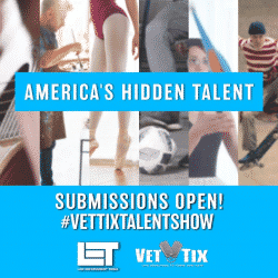 VetTix promo poster announcing the upcoming talent show