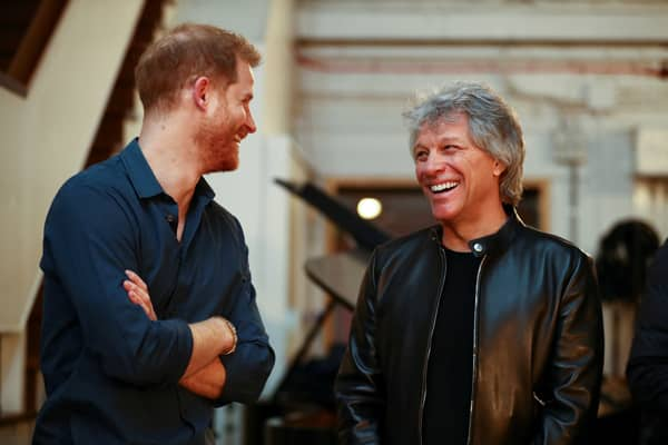 Prince Harry speaks with Jon Bon Jovi at Abbey Road Studios