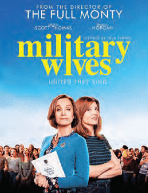 Military Wives movie poster with name of movie ans and two stars of the movie standing back to back smiling