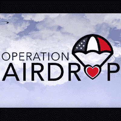 Operation Airdrop image with a red white and blue parachute centered in between the words