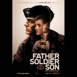 FATHER SOLDIER SON promo poster featuring three side views of a child, teen and father in uniform