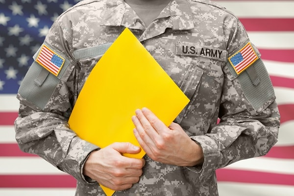 USA army soldier holding yellow folder in hands