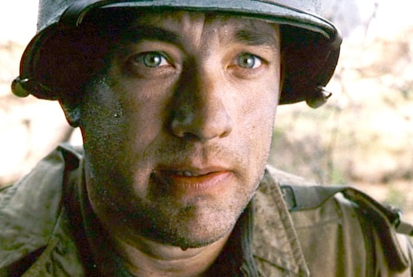Tom Hanks (as Captain John Miller), takes a moment to reflect, upon surviving D-Day.