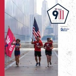 men and women running carrying flags in support of USA and 9/11