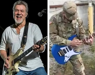 Eddie Van Halen and soldier playing guitars side by side