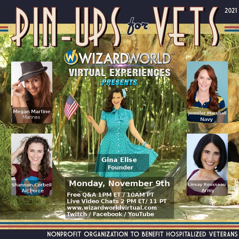 Pin-ups for vets poster featured four models in authentic 50's style dresses