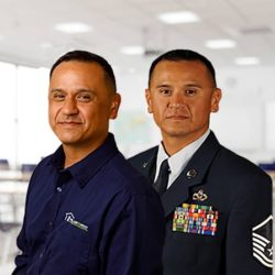 Steven Cordova headshots side by side military uniform and business clothes