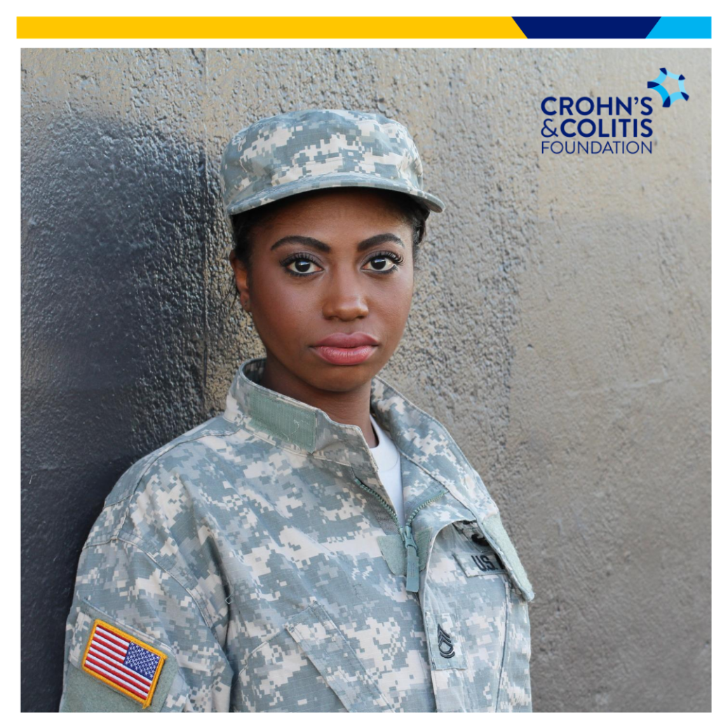 Female soldier in fatigues pictured looking somber facing forward with the text Crohn's & Colitis Foundation at the top