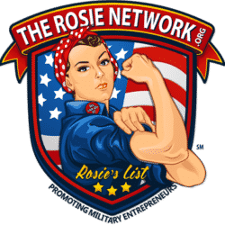 The Rosie Network Logo Shield with woman in bandana holding her arm up in a strength position