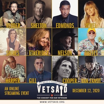VetsAid promo poster featuring many musical artists