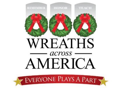 Three Christmas wreaths pictured on a promtional image with the words Wreaths Across America