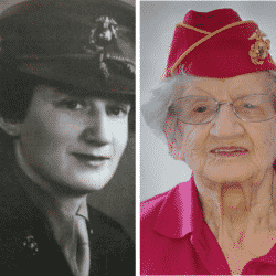 side by side headshots of U.S. Marine Dorothy Cole as a young Marine and most current wearing a shriners hat