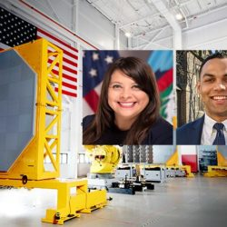 two student veterans are pictured in the center of a Raytheon warehouse background