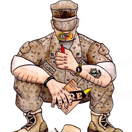 cartoon image of solder in uniform sqatting down with crayon in hand