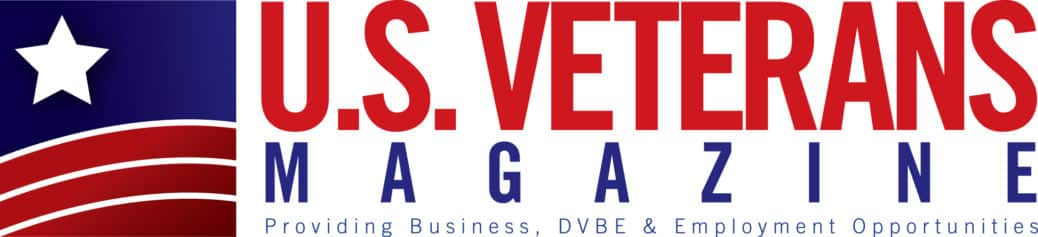 U.S. Veterans Magazine logo in red white and blue