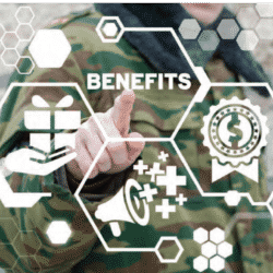 soldier in uniform pointing to a graphic of images symbolizing money and finance