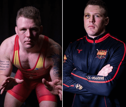 The MArine who will wrestle in the Olympics is pictured with a side by side image of him in uniform and his wrestling gear