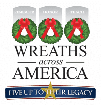 Wreaths Across America text with three decorated wreaths in red and green and the text Live up to their lecacy below