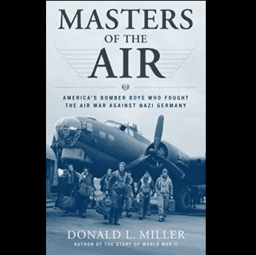 Masters of the Air series poster with fighter plane and pilots standing in front of it