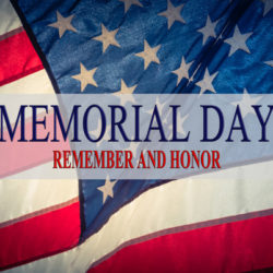 Memorial Day and Honor words on a flowing American flag