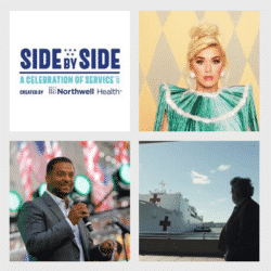 northwell health logo, image of Katy Perry, image of Alfozo Ribiero, image od U.S. Navy hospital ship in a collage
