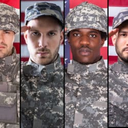 Four diverse U.S. military soldiers in side to side collage