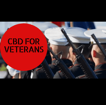 CBD for Veterans offer with marching soldiers underlayed