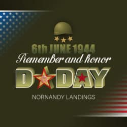 background with 3d texts, army helmet and remember and honor D-Day text