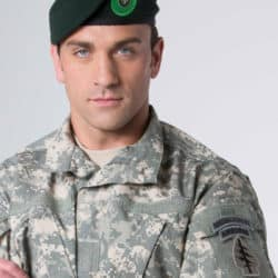 Jeff Bosley wearing his Green Beret hat and in military uniform