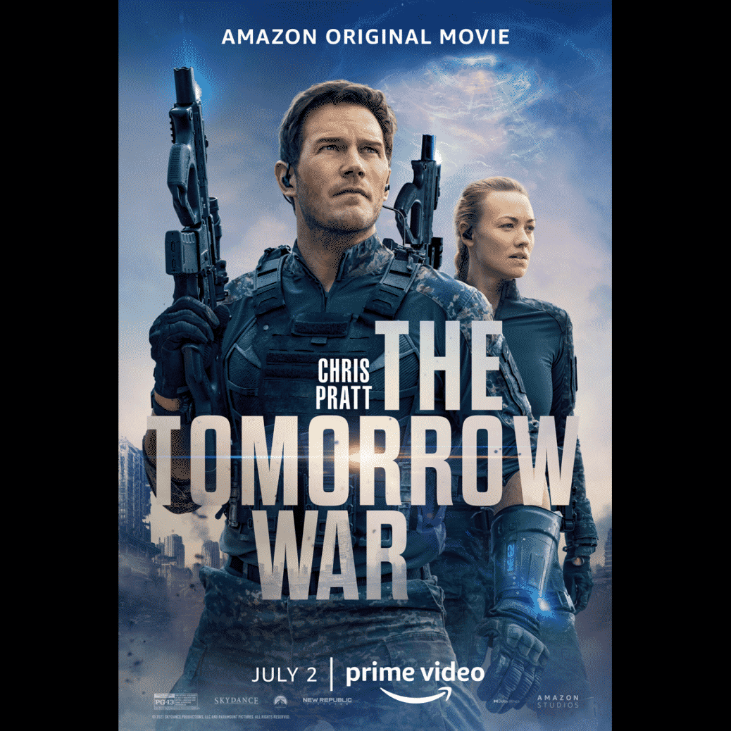 The Tomorrow War movie poster with Chris Pratt featured holding futuristic weapon