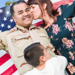 Male Hispanic Armed Forces Soldier Celebrating His Return Holding American Flag.