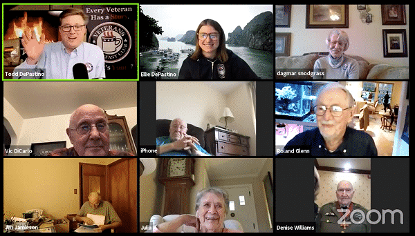 Group of veterans on a zoom call