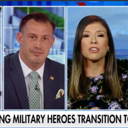 Fox Business news commentators pictured together in four video shots with ticker tape running across the bottom highlighting military transition