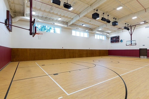 full size basketball court inside the innovations academy