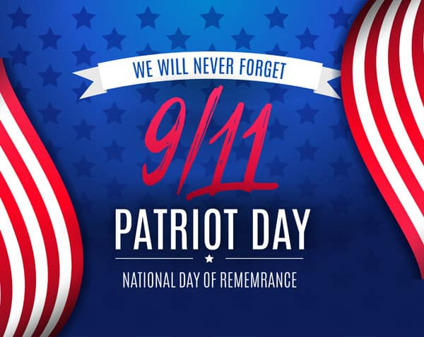9 11 Patriot Day background, American Flag stripes and stars background. Patriot Day September 11, 2001. We Will Never Forget