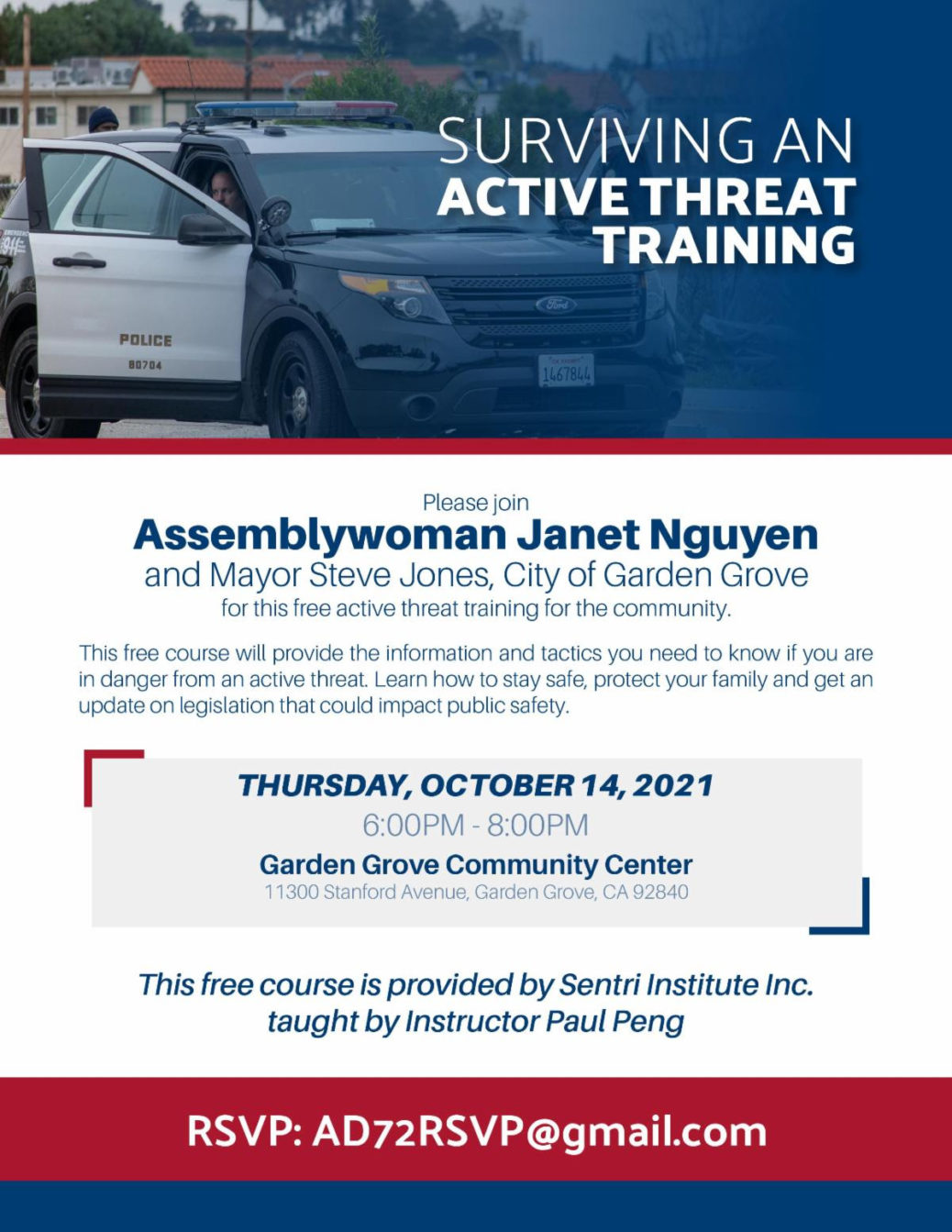 Flyer for Janet Ngyuen Active Shooter Event