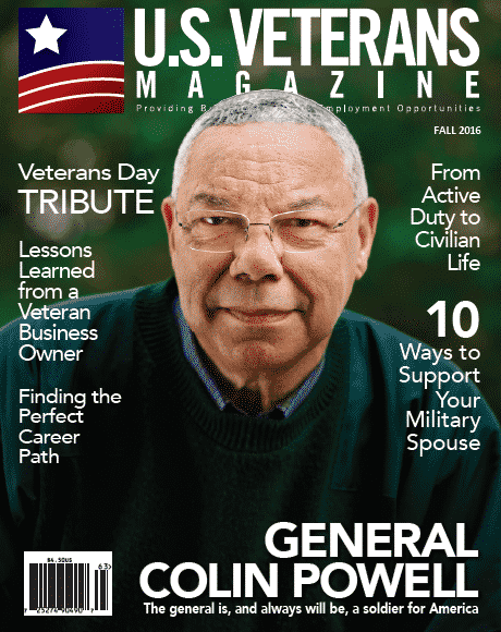 Colin Pwell featured cover story on U.S. Veterans Magazine